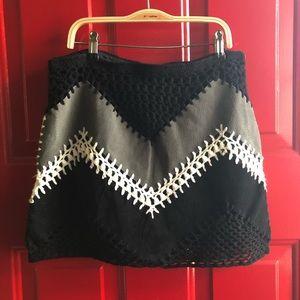 BB Dakota Suede/Crochet A-Line Mini Skirt